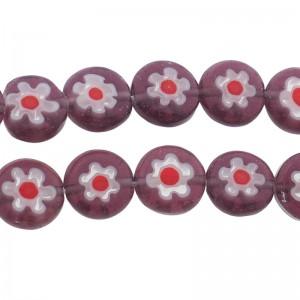 Millefiori glaskraal paars rood 8mm
