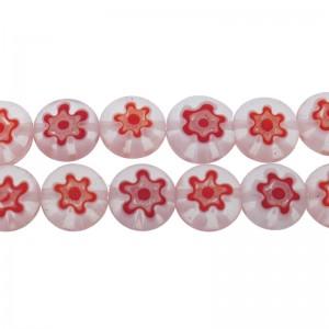 Millefiori glaskraal rood wit 8mm