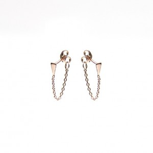 Karma minimalistische oorbellen chain mini cone roseplated (per paar)