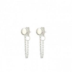 Karma minimalistische oorbellen chain mini disc 925 sterling zilver (per paar)