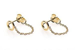 Karma minimalistische oorbellen chain open circle 925 sterling zilver goldplated (per paar)