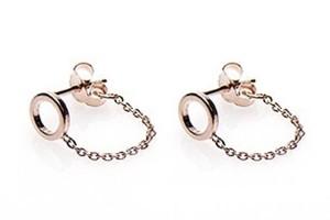 Karma minimalistische oorbellen chain open circle 925 sterling zilver roseplated (per paar)