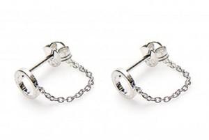 Karma minimalistische oorbellen chain open circle 925 sterling zilver (per paar)