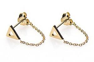 Minimalistische oorbellen chain open triangle 925 sterling zilver goldplated