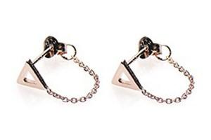Minimalistische oorbellen chain open triangle 925 sterling zilver roseplated