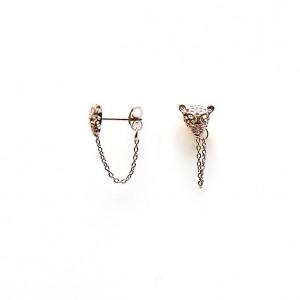 Karma minimalistische oorbellen chain panther head 925 sterling zilver (roseplated) (per paar)