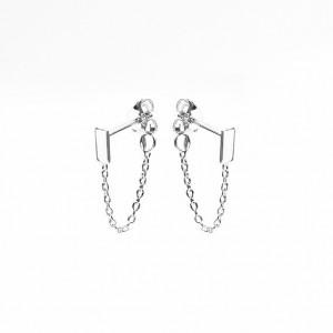 Karma minimalistische oorbellen chain rectangle 925 sterling zilver (per paar)