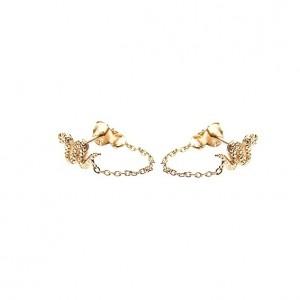 Karma minimalistische oorbellen chain snake 925 sterling zilver (goldplated) (per paar)