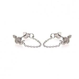 Karma minimalistische oorbellen chain snake 925 sterling zilver (per paar)