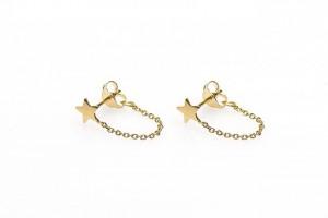 Karma minimalistische oorbellen chain star 925 sterling zilver (goldplated) (per paar)
