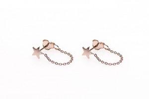 Karma minimalistische oorbellen chain star 925 sterling zilver (roseplated) (per paar)