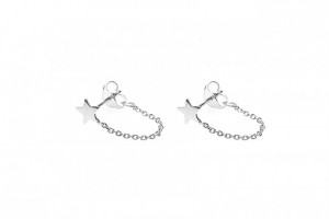Karma minimalistische oorbellen chain star 925 sterling zilver (per paar)