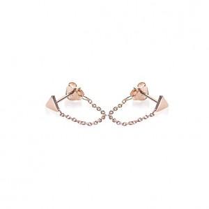 Karma minimalistische oorbellen chain triangle 925 sterling zilver (roseplated) (per paar)