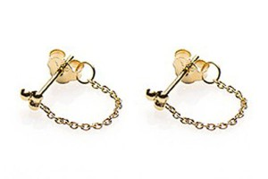 Minimalistische oorbellen chain triple dots 925 sterling zilver goldplated