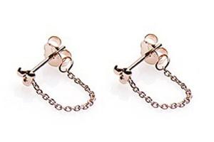 Minimalistische oorbellen chain triple dots 925 sterling zilver roseplated