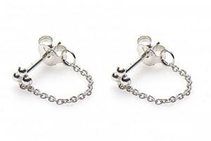 Minimalistische oorbellen chain triple dots 925 sterling zilver