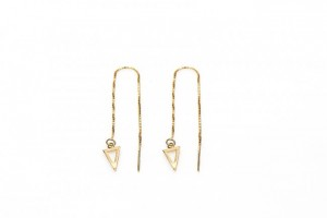 Minimalistische oorbellen pull through open triangle 925 sterling zilver (goldplated) (per paar)