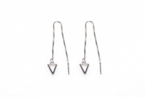 Minimalistische oorbellen pull through open triangle 925 sterling zilver (per paar)