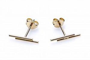 Minimalistische oorbellen symbols double round tubes 925 sterling zilver goldplated