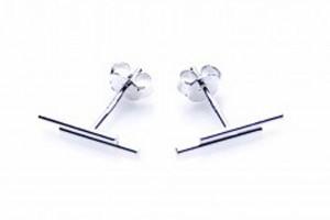 Minimalistische oorbellen symbols double round tubes 925 sterling zilver