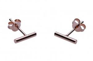 Minimalistische oorbellen tubes round 925 sterling zilver roseplated