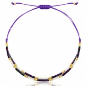 Miyuki armbandje purple-black ab-white