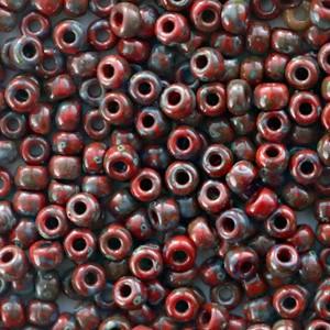 Miyuki rocailles 8/0 (3mm) 5 gram opaque picasso red