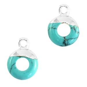 Natuursteen bedel / hanger circle 10mm marble turquoise zilver