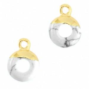Natuursteen bedel / hanger circle 10mm marble white zilver