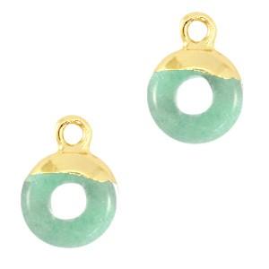 Natuursteen bedel / hanger circle 10mm ocean green goud