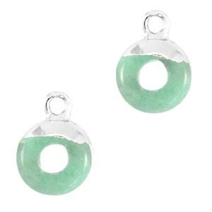 Natuursteen bedel / hanger circle 10mm ocean green zilver
