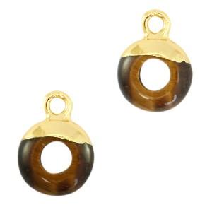 Natuursteen bedel / hanger circle 10mm topaz brown goud