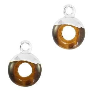 Natuursteen bedel / hanger circle 10mm topaz brown zilver