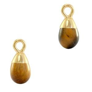 Natuursteen bedel / hanger druppel 13x6mm topaz brown goud