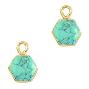 Natuursteen bedel / hanger hexagon 12x9mm marble turquoise goud