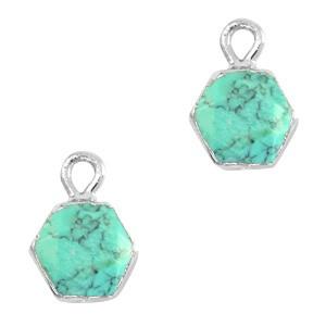 Natuursteen bedel / hanger hexagon 12x9mm marble turquoise zilver