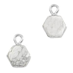 Natuursteen bedel / hanger hexagon 12x9mm marble white zilver