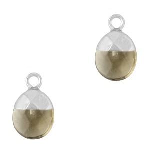 Natuursteen bedel / hanger ovaal 14x8mm black diamond zilver