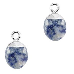 Natuursteen bedel / hanger ovaal 14x8mm blue white zilver