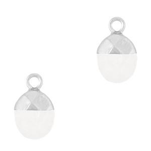 Natuursteen bedel / hanger ovaal 14x8mm crystal white zilver