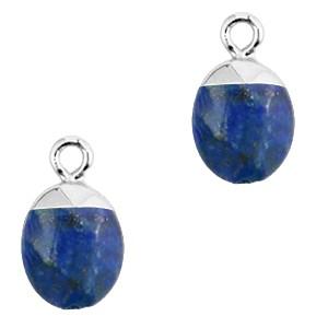 Natuursteen bedel / hanger ovaal 14x8mm dark blue zilver