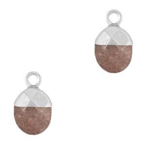 Natuursteen bedel / hanger ovaal 14x8mm dark brown grey zilver