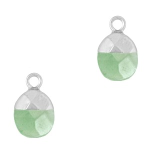 Natuursteen bedel / hanger ovaal 14x8mm light green zilver