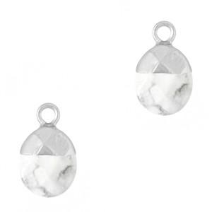 Natuursteen bedel / hanger ovaal 14x8mm marble white zilver