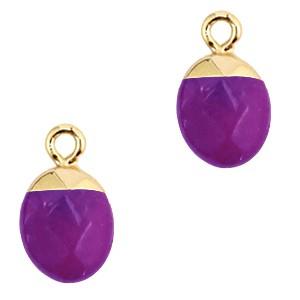Natuursteen bedel / hanger ovaal 14x8mm purple goud