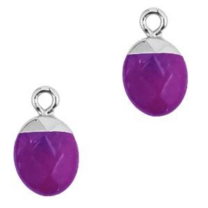 Natuursteen bedel / hanger ovaal 14x8mm purple zilver
