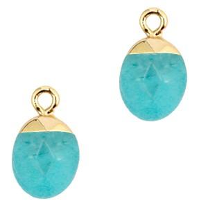 Natuursteen bedel / hanger ovaal 14x8mm turquoise blue goud