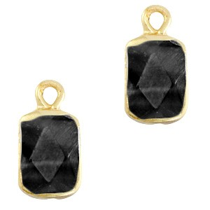 Natuursteen bedel / hanger rechthoek 16x8mm black goud
