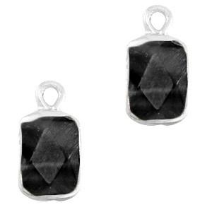 Natuursteen bedel / hanger rechthoek 16x8mm black zilver