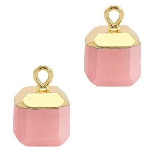 Natuursteen bedel / hanger square 14x10mm blossom pink goud